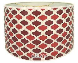 Royal Designs DESIGNERS LAMP SHADE Drum Finial Fitting TWO TONE RED 10 / 25cm