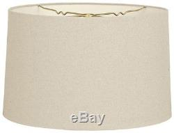 Royal Designs LAMP SHADE Shallow Drum Finial, LINEN BEIGE-10/25cm or 12/31cm