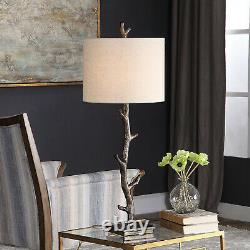 Rustic Branch Table Lamp, Metal Base withOff-White Linen Shade, Dark Bronze Finish