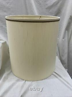 STIFFEL Lamp Shade MED LGE 15.5 Tall 14 wide Drum Style TAN Silk EXC COND