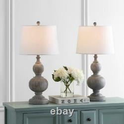 Safavieh Curved Table Lamp Off-White Shade LED Bulb 31.25 in. Height (Set of 2)