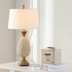 Safavieh Table Lamp Polyresin Pineapple Stand LED Bulb Off-White Shade (2-Set)