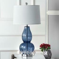 Safavieh Table Lamp Set Blue Glass Base Off-White Shade 60 in. Cord (Set of 2)