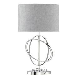 Searchlight Rings Chrome Table Lamp Silver Linen Drum Shade White Inline Switch