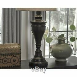 Set 2 Oil Rubbed Bronze Urn Base Table Lamps Pair Shade 29 inch H Beautiful Desk