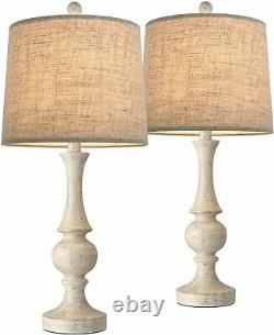 Set 2 Pair White Washed Resin Table Lamp Set Linen Shade Farmhouse Style 24.5 H