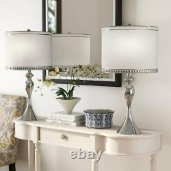 Set 2 Polished Chrome Table Lamp Pair Off White Shade 27 inch H Desk Decor Glam
