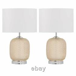 Set of 2 Amber Textured Glass Table Lamp Bedside Lights with White Shades