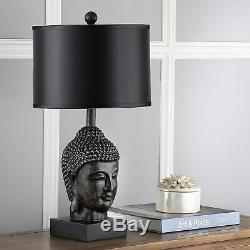 Set of 2 Buddha Head Table Lamps, Dark Gold Base, Black Shade, Zen Chic 24.5H