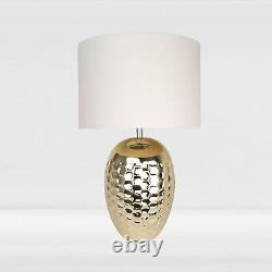 Set of 2 Ceramic Bedside Table Light Pale Gold Finish and White Fabric Shade