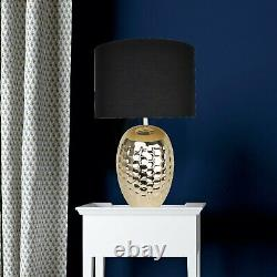 Set of 2 Ceramic Bedside Table Light Pale Gold Plated and Black Fabric Shade