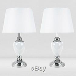 Set of 2 Chrome & White Urn Style Table Lamp Bedside Lights with White Shades