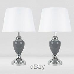 Set of 2 Chrome and Grey Urn Style Table Lamp Bedside Lights with White Shades