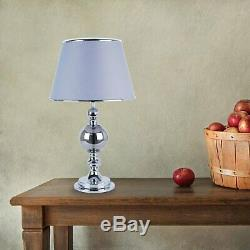 Set of 2 Chrome and Smoked Glass Table Lamp Bedside Lights with Grey Shades