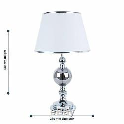 Set of 2 Chrome and Smoked Glass Table Lamp Bedside Lights with White Shades