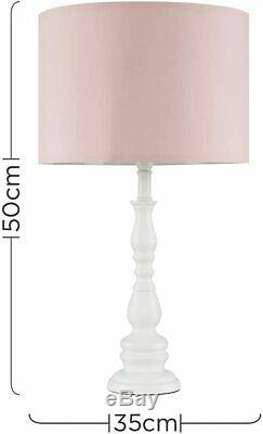 Set of 2 Large White Wooden Spindle Table Lamps with Pink Cylinder Light Shade