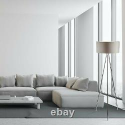 Set of 2 Modern Chrome Tripod Floor Lamp Lights with Large Grey Fabric Shades