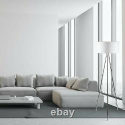 Set of 2 Modern Chrome Tripod Floor Lamp Lights with Large White Fabric Shades