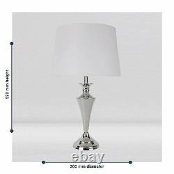 Set of 2 Modern Polished Chrome Table Lamp Bedside Lights with White Shades