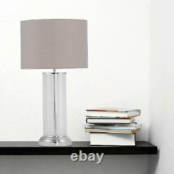 Set of 2 Modern Touch Control 53cm Column Table Lamp Bedside Light Grey Shade