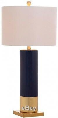 Set of 2 Navy Blue & Gold Table Lamps, Ceramic withWhite Cotton Drum Shades 31H