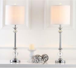 Set of 2 White Shade Candlestick Buffet Table Lamps Chrome & Crystal 31 H