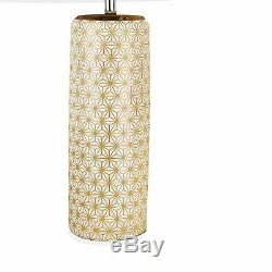 Set of 2 White and Gold Moorish Ceramic Table Lamp Beside Light White Shades