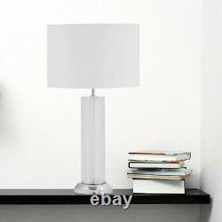 Set of Modern 59cm Textured Glass Table Lamps Bedside Lights with White Shades
