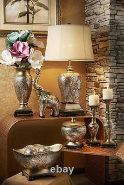 Silver and Gold Elegant Drum Shade Mosaic Swirls Pattern Table Lamp 29.5H