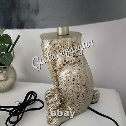 Silver tone HARE TABLE LAMP with GREY velvet shade Ears peeping out