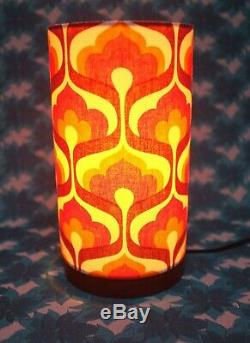 Solid Wooden Lamp with Retro Fabric Lampshade, Original 70s Fabric, Geometric