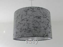 Steel Grey Crushed Velvet Metallic Lining Lampshade Ceiling Light Shade Modern
