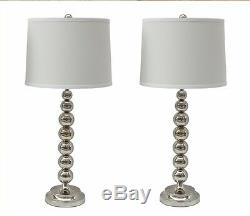 Steel Stacked Ball Table Lamp with Linen Shade, Set of 2, Two Colors Available