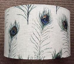 Stunning Hand Made Drum Lampshade in Clarke & Clarke Peacock Feather Fabric
