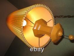 Swag Lamp Pleated Drum Shade Pendant Hollywood Regency Lampshade Chain MCM 1960s