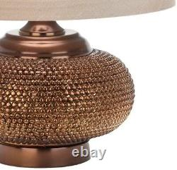 Table Lamp 19 in. Gold Bead Polyresin Mediterranean Style with Taupe Drum Shade