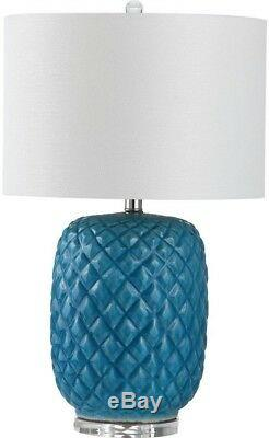 Table Lamp 25.25 in. Blue Rotary Switch Ceramic Lamp Base with White Drum Shade