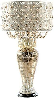 Table Lamp 25 in. Champagne Indoor Plug-in with Jeweled Metal and Mosaic Base