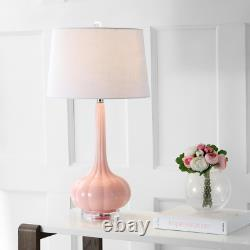 Table Lamp Bette Glass Teardrop Drum Shade Room Decor Pink 28.5 in. Set of 2
