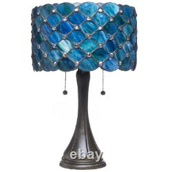 Table Lamp Contemporary Tiffany Royal Blue Jeweled Glass 2 Light Bronze 22 in