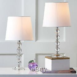 Table Lamp Set Clear Stacked Crystal Ball Lamp Shade Bedroom Decor (Set of 2)