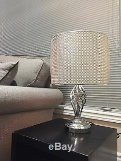 Table Lamp with Chrome Finish & Metal Drum Shaped Shade