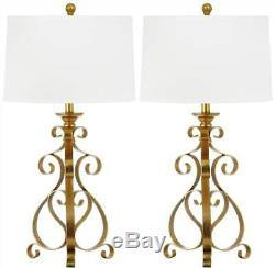 Table Lamp with White Shade and Antique Gold Base Set of 2 ID 3303661