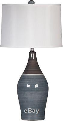 Table Lamps 150-Watt Drum Shade 3-Way Switch Ceramic Two-Tone Grey (Set Of 2)