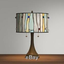 Table Lampshade 22 in. 2-Pull Chains Light Plug-in Blue Bronze Stain Glass