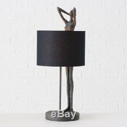 Tall Vintage Style Grey Woman Lady Figurine Table Lamp Black Lampshade 61cm