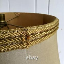 Taupe Floor Lamp Large Drum Shade With Rope Braid Gold Fringe, 20 Spider Fitter