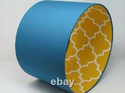 Teal and Mustard Yellow Geometric Quatrefoil Morrocan Tile Statement Lampshade