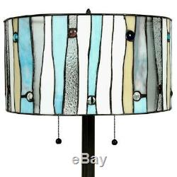Tiffany Blue Contemporary 60 Bronze Floor Lamp Stained Glass Shade Handcrafted