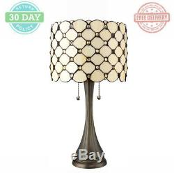 Tiffany Jeweled Table Lamp Metal Base White Stained Glass Drum Shade 21 in